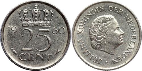 25 центов 1960 Нидерланды