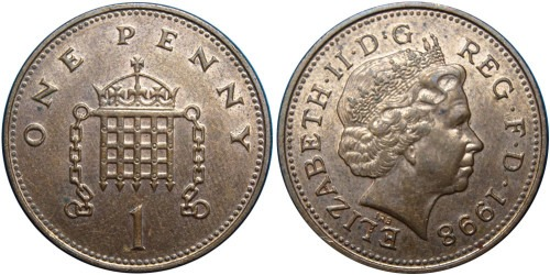 1 пенни 1998 Великобритания
