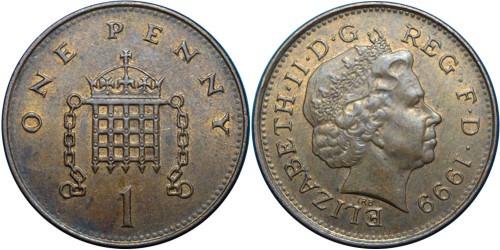 1 пенни 1999 Великобритания — магнетик