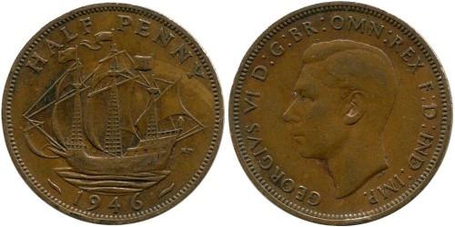 1/2 пенни 1946 Великобритания