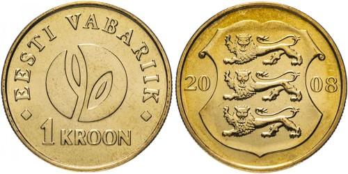 1 крона 2008 Эстония — 90 лет Эстонской республике UNC