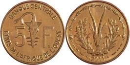 5 франков 2011 Западная Африка UNC