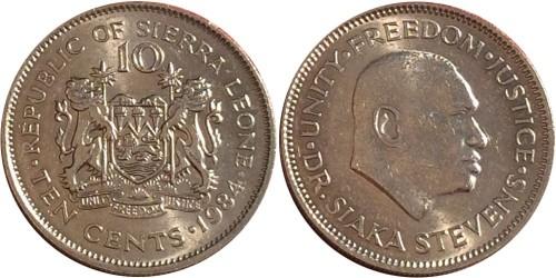 10 центов 1984 Сьерра-Леоне