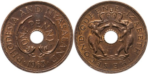 1 пенни 1963 Родезия и Ньясаленд