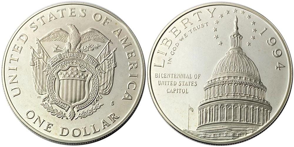 1 доллар 1994 S США — 200 лет Капитолию — серебро