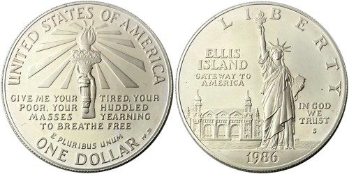 1 доллар 1986 S США — 100 лет Статуе Свободы — серебро