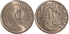 10 центов 1984 Сингапур