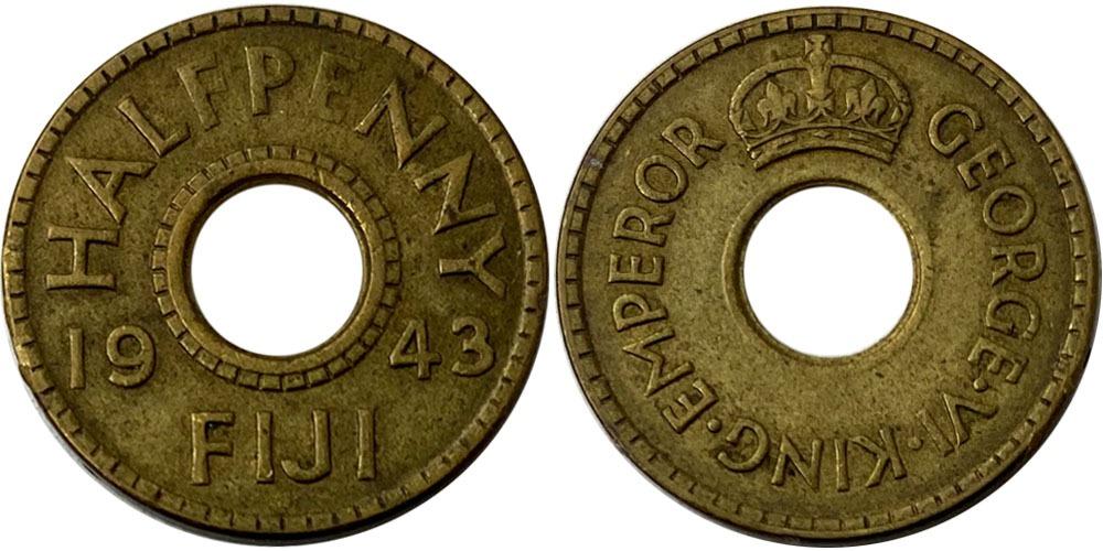 ½ пенни 1943 Фиджи №1