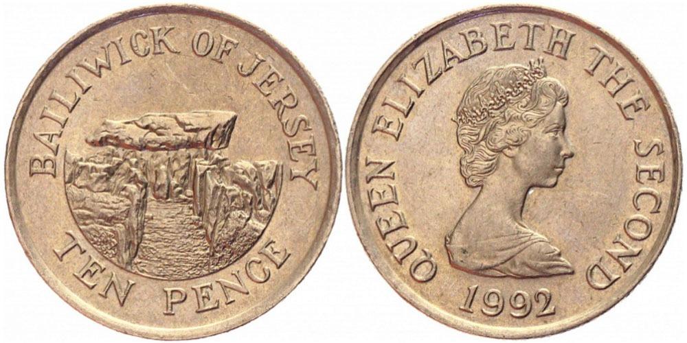 10 пенсов 1992 остров Джерси