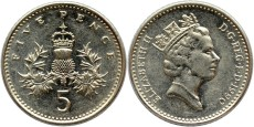 5 пенсов 1990 Великобритания