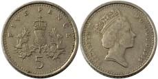 5 пенсов 1995 Великобритания