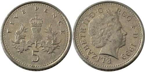5 пенсов 1999 Великобритания