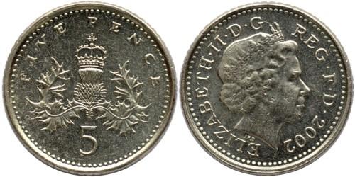 5 пенсов 2002 Великобритания
