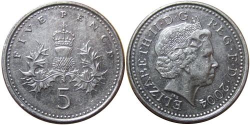 5 пенсов 2004 Великобритания