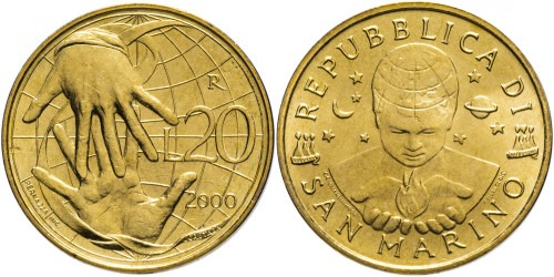 20 лир 2000 Сан-Марино