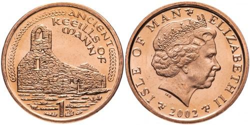 1 пенни 2002 остров Мэн — Отметка «AA» на реверсе