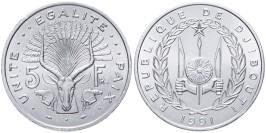 5 франков 1991 Джибути UNC