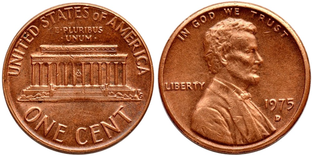 1 цент 1975 D США