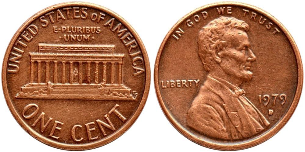 1 цент 1979 D США