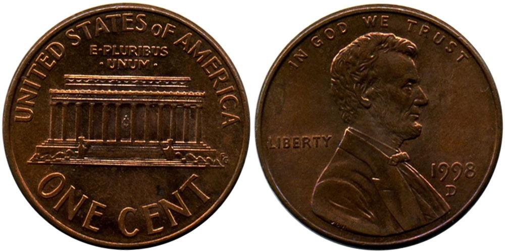 1 цент 1998 D США