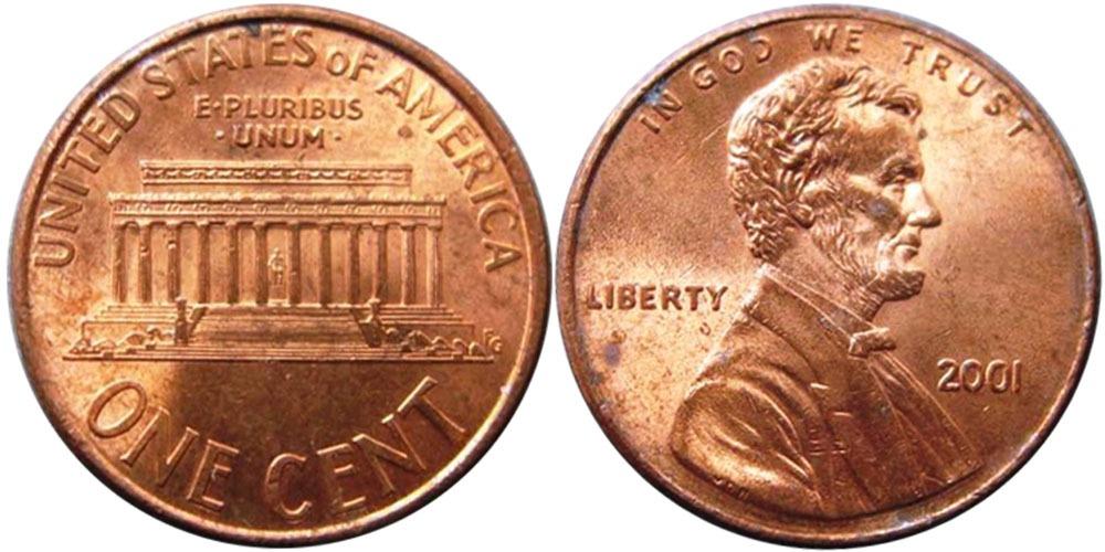 1 цент 2001 США