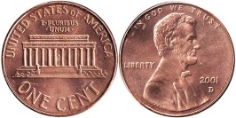 1 цент 2001 D США