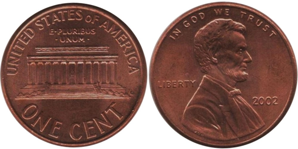 1 цент 2002 США