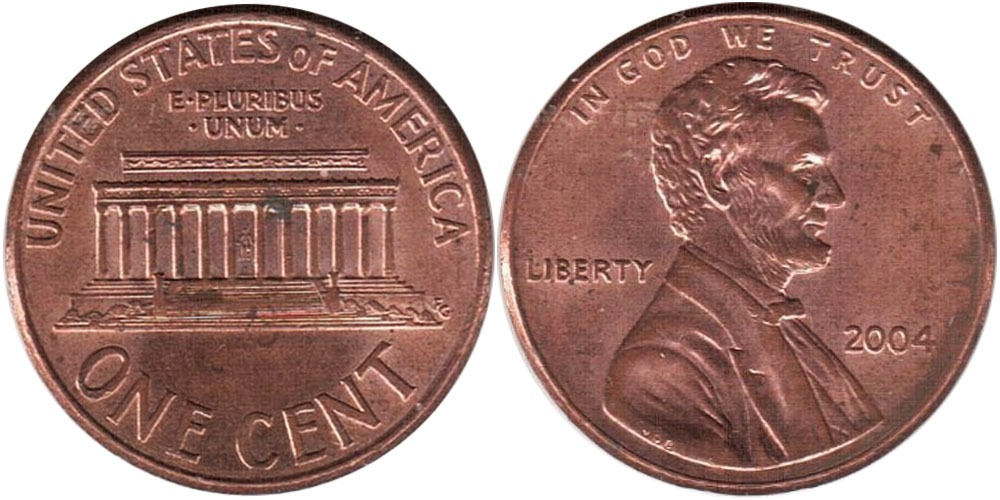 1 цент 2004 США