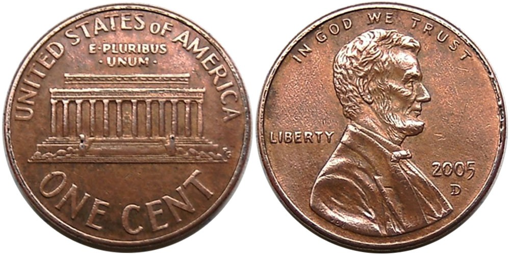 1 цент 2005 D США