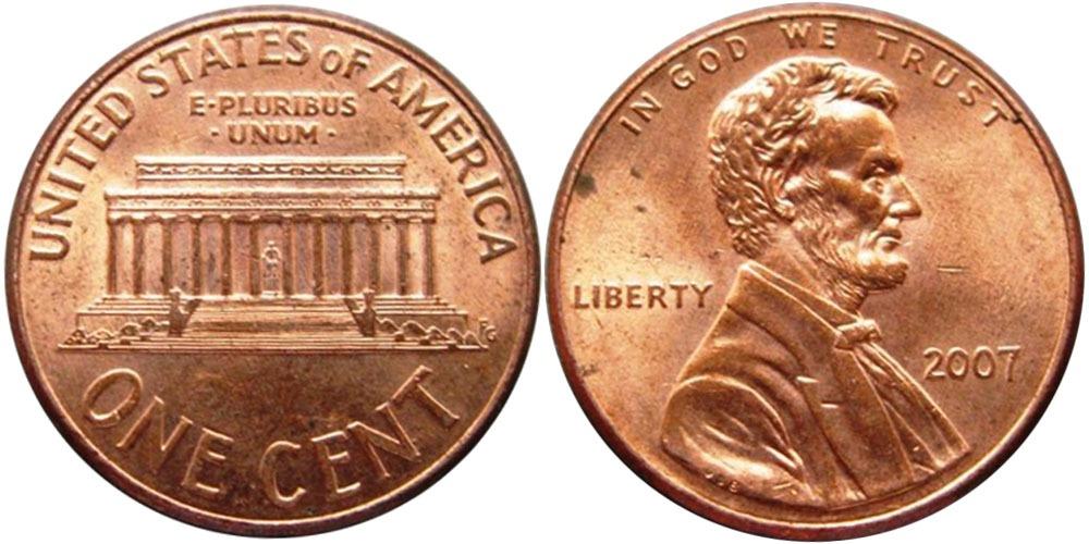 1 цент 2007 США