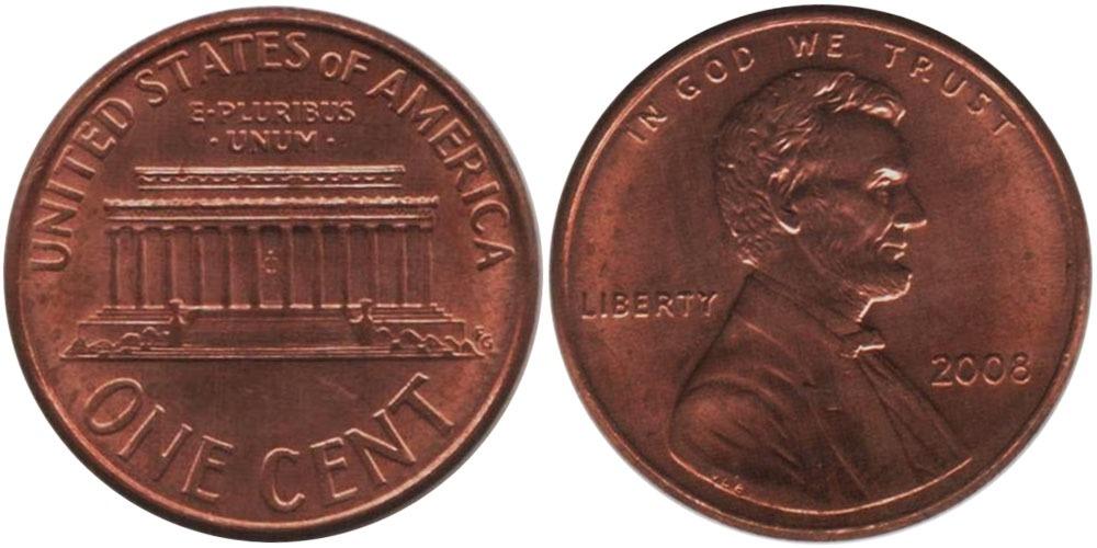 1 цент 2008 США