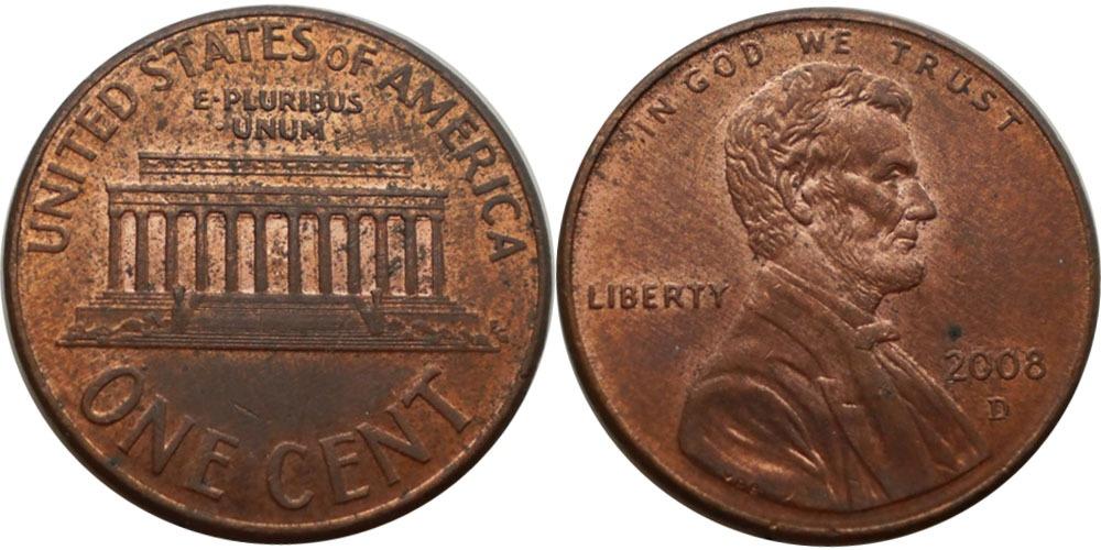 1 цент 2008 D США