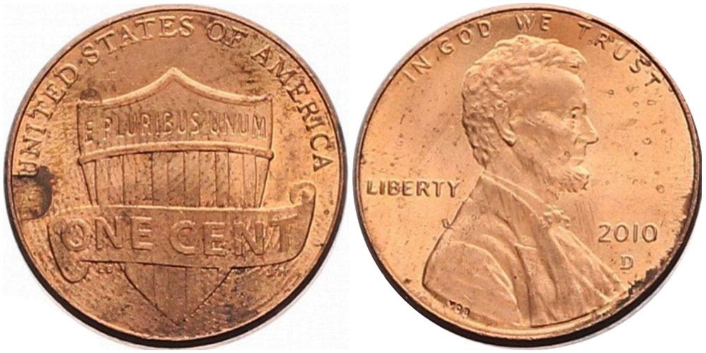 1 цент 2010 D США