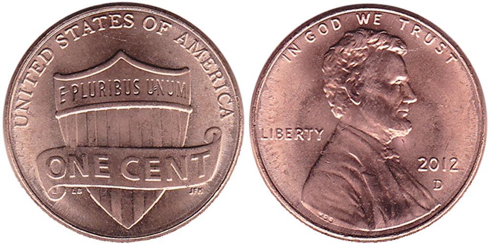1 цент 2012 D США