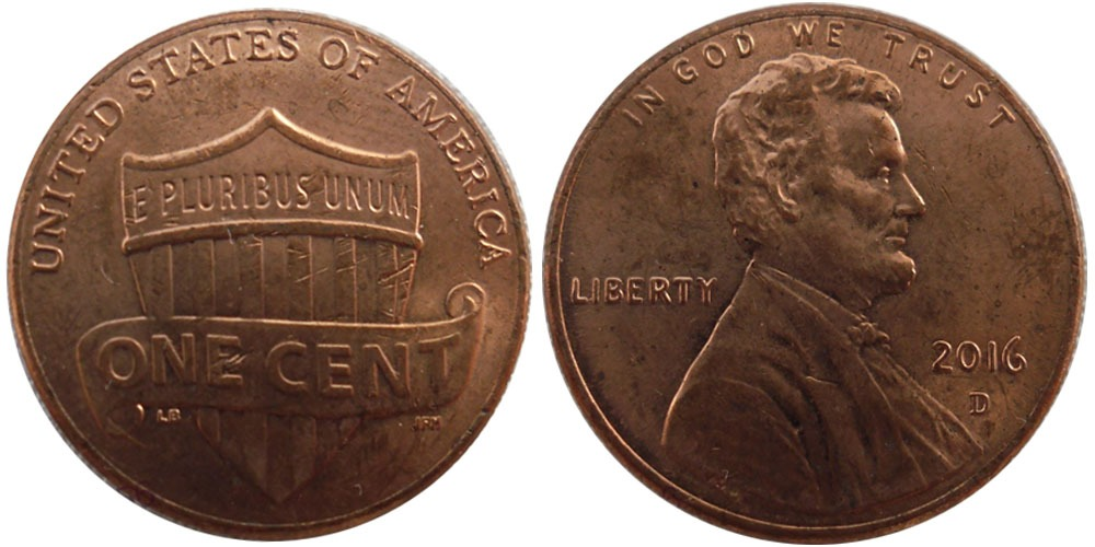 1 цент 2016 D США
