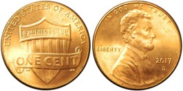 1 цент 2017 D США — Lincoln Cent