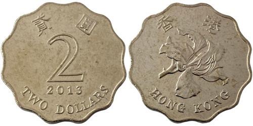 2 доллара 2013 Гонконг