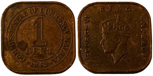 1 цент 1943 — Малайя №7