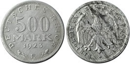 500 марок 1923 Германия — Веймарская республика — E — уценка