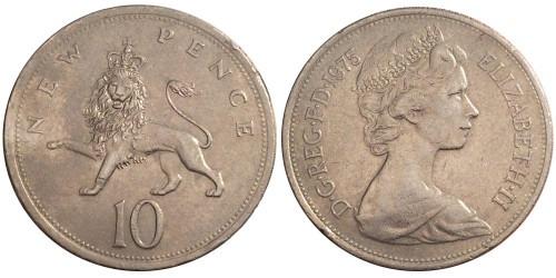 10 новых пенсов 1975 Великобритания