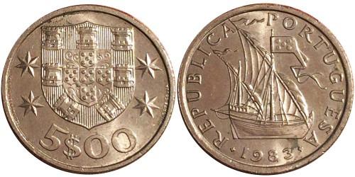 5 эскудо 1983 Португалия
