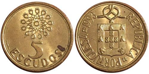 5 эскудо 1993 Португалия