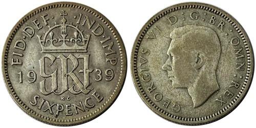 6 пенсов 1939 Великобритания — серебро