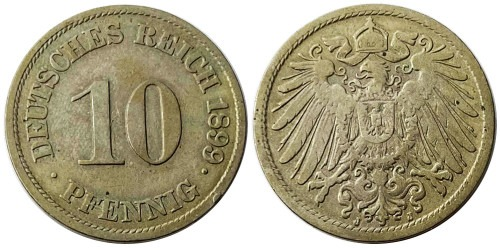 10 пфеннигов 1899 «J» — Германская империя