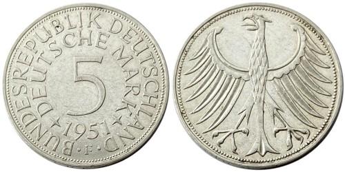 5 марок 1951 «F» Германия — серебро