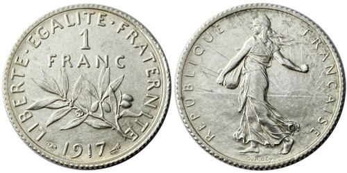 1 франк 1917 Франция — серебро