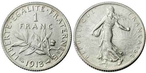 1 франк 1913 Франция — серебро