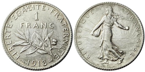 1 франк 1918 Франция — серебро