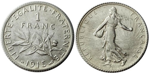 1 франк 1915 Франция — серебро №1