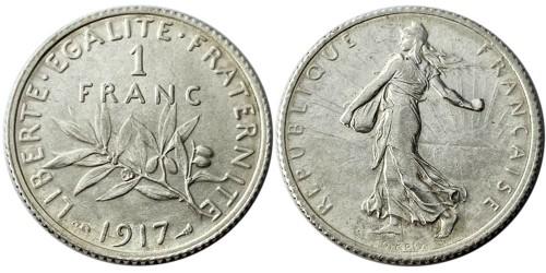 1 франк 1917 Франция — серебро №1